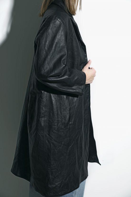 Vintage 90s leather trench coat black