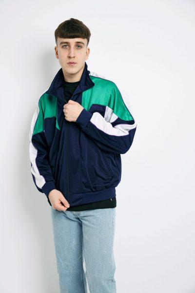 Old School jacket blue green