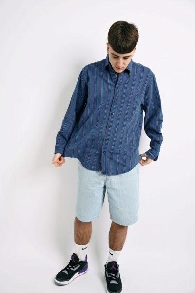 Retro corduroy long shirt