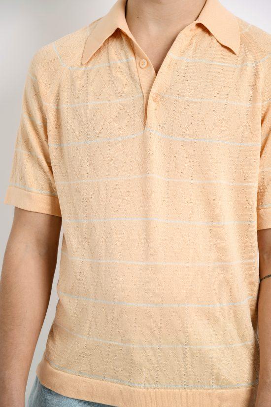 Retro 60s polo shirt pastel peach