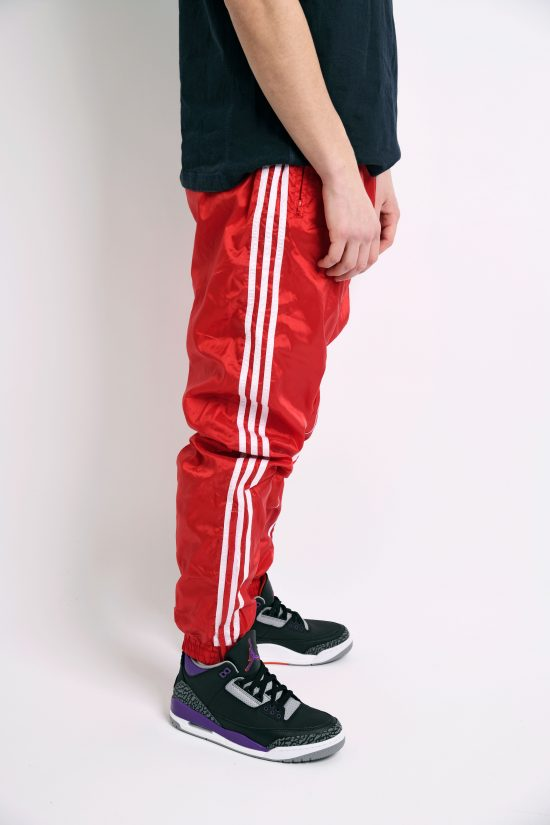 Retro nylon shell pants in red and white