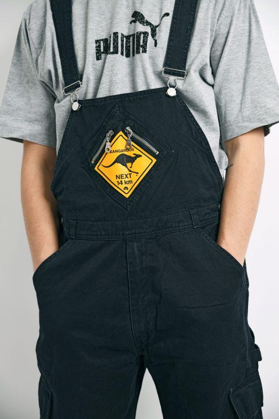 Vintage denim dungaree black jeans