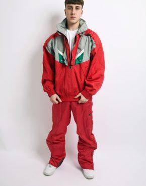 winter ski suit red