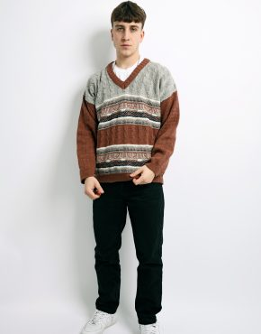 sweater mens brown grey