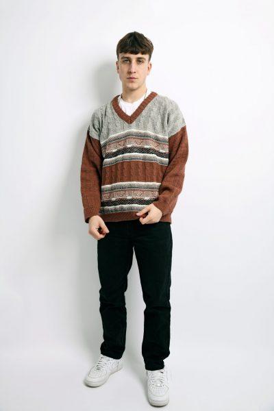 sweater mens brown grey
