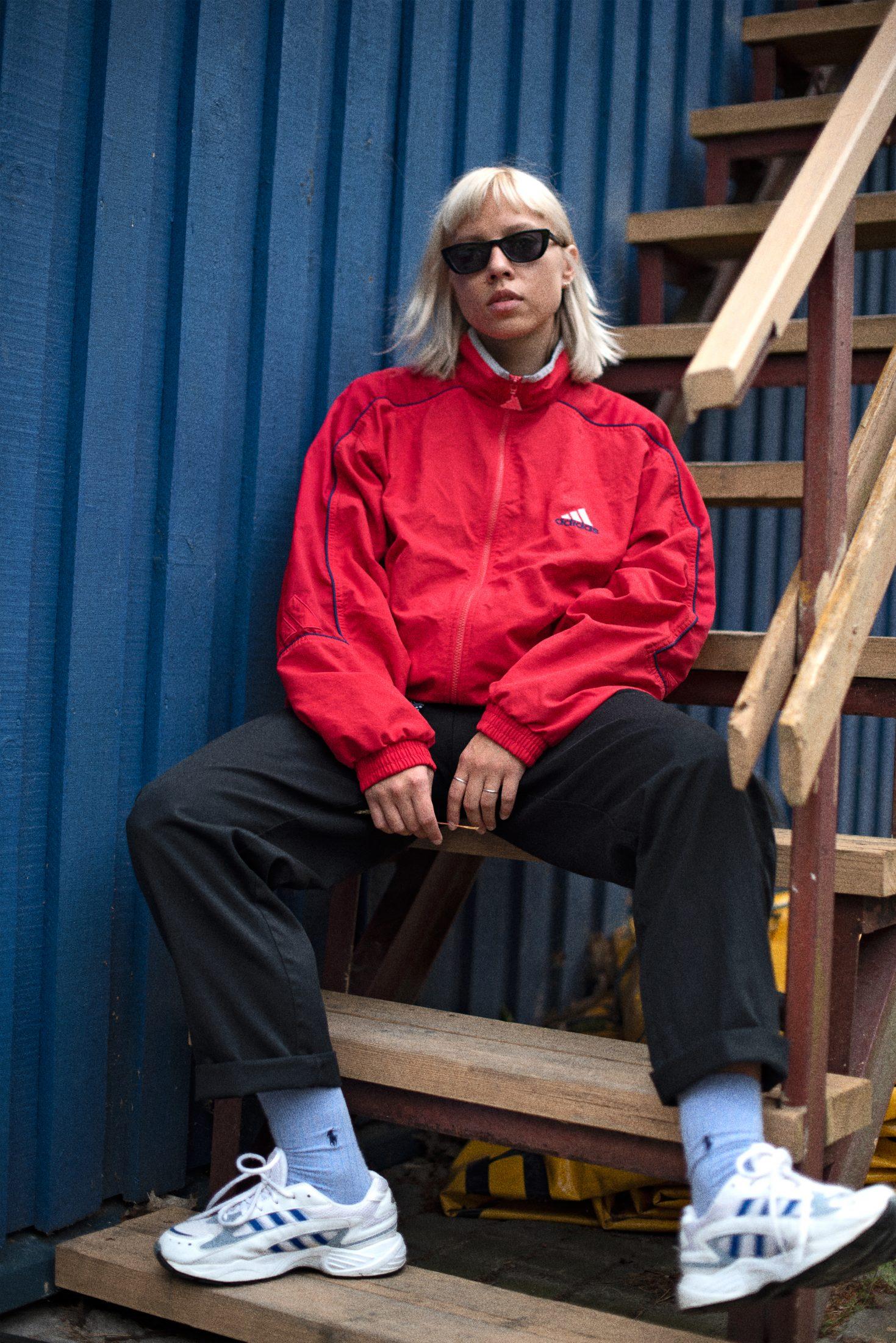 Vintage 90s Adidas red windbreaker jacket