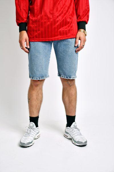 long length denim shorts