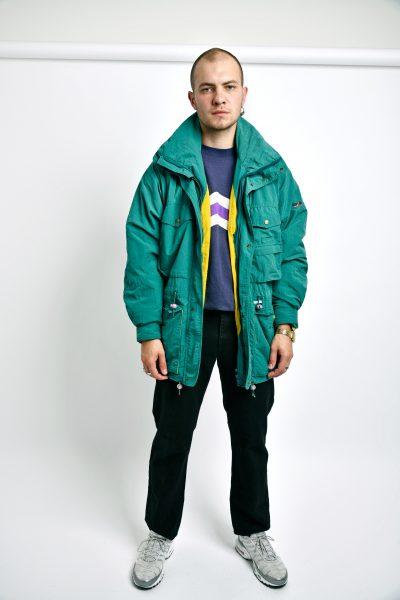 Retro hooded parka green