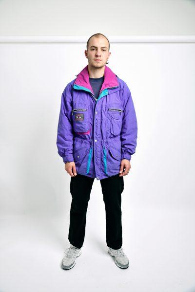 80s padded parka purple