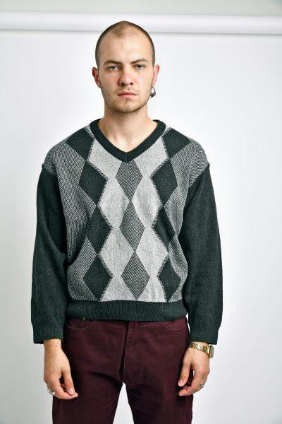 mens retro sweater grey