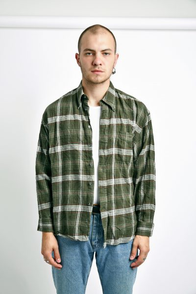 Vintage plaid shirt green