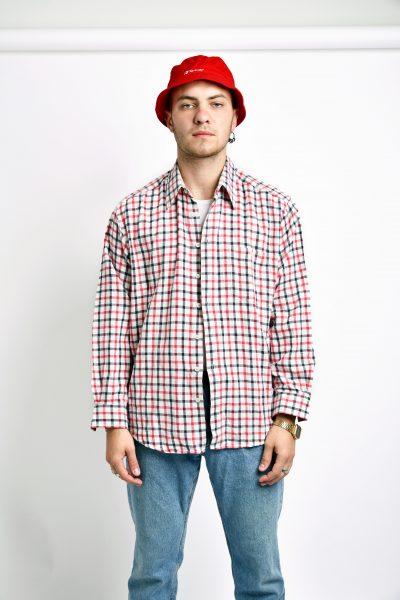 90s red plaid shirt