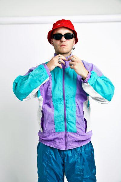 Vintage windbreaker jacket purple